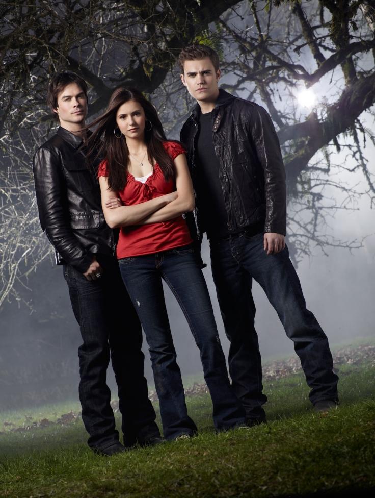 Nina Dobrev ( Elena Gilbert ),  Paul Wesley ( Stefan Salvatore ), Ian Somerhalder (Damon Salvatore)