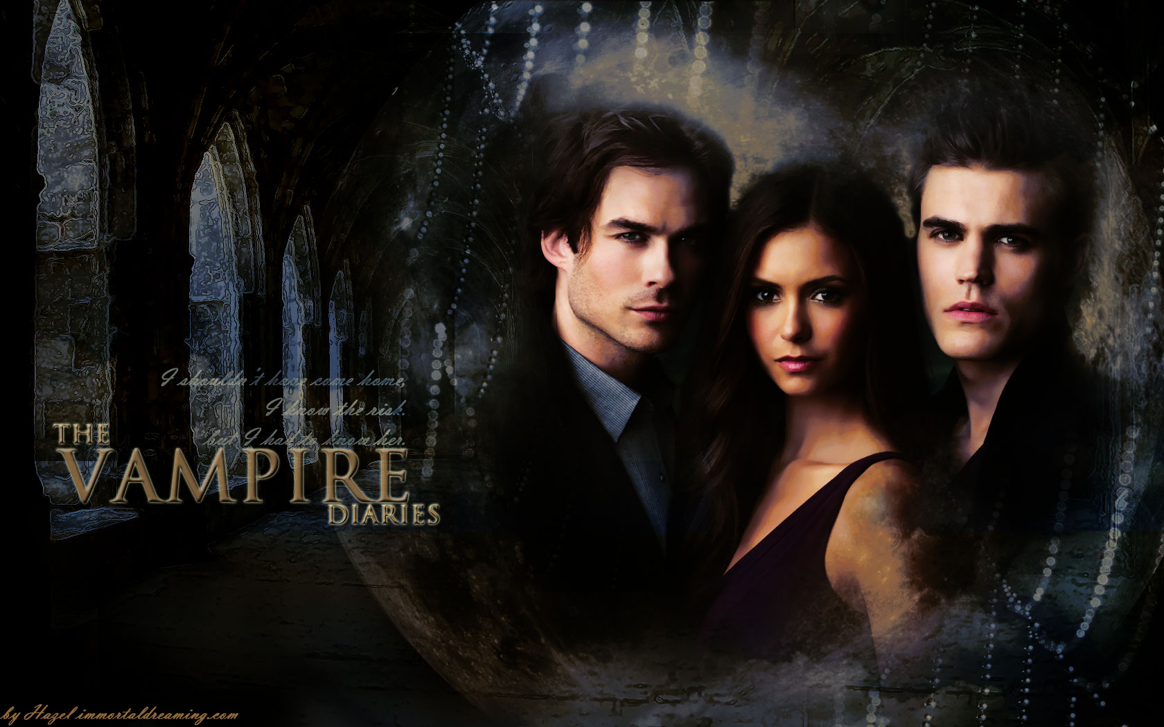 Wallpaper The Vampire Diaries: Nina Dobrev , Paul Wesley And Ian Somerhalder